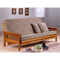 Night and Day Trinity Full Wood Futon Frame in Hickory