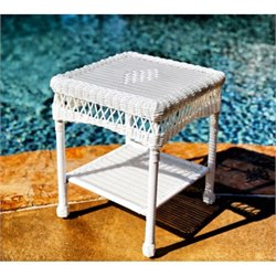 Tortuga Portside Patio End Table in White
