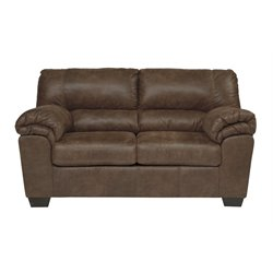 Ashley Bladen Faux Leather Loveseat in Coffee
