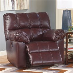 Ashley Kennard Leather Rocker Recliner in Burgundy