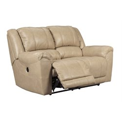 Ashley Yancy Power Reclining Leather Loveseat in Galaxy