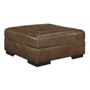 Ashley Vincenzo Oversized Square Leather Ottoman in Nutmeg