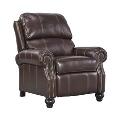 Ashley Glengary Low Leg Leather Recliner in Chestnut