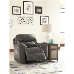 Ashley Havilyn Faux Leather Rocker Recliner in Charcoal