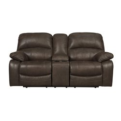 Ashley Zavier Glider Reclining Faux Leather Loveseat in Truffle