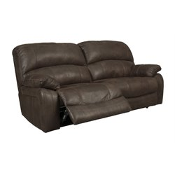 Ashley Zavier Reclining Faux Leather Loveseat in Truffle