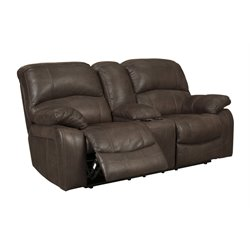 Ashley Zavier Glider Power Reclining Faux Leather Loveseat in Truffle