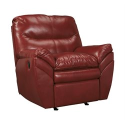 Ashley Tassler DuraBlend Leather Rocker Recliner in Crimson