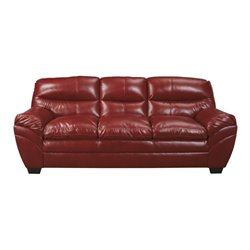 Ashley Tassler DuraBlend Leather Sofa in Crimson