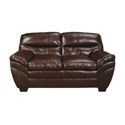 Ashley Tassler DuraBlend Faux Leather Loveseat in Mahogany