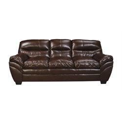 Ashley Tassler DuraBlend Faux Leather Sofa in Mahogany