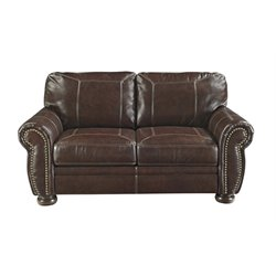Ashley Banner Leather Loveseat in Coffee