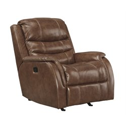 Ashley Metcalf Leather Power Rocker Recliner in Nutmeg
