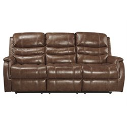 Ashley Metcalf Power Reclining Leather Sofa in Nutmeg