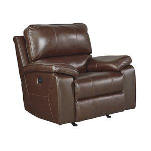 Ashley Transister Leather Power Rocker Recliner in Coffee