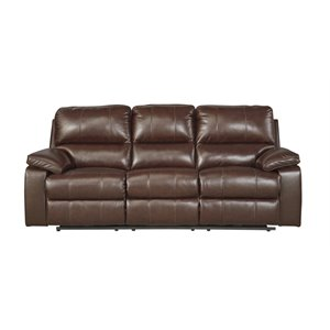 Ashley Transister Power Reclining Leather Sofa in Coffee