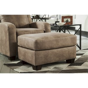 Ashley Alturo Faux Leather Ottoman in Dune