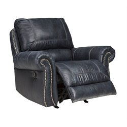 Ashley Milhaven Faux Leather Rocker Recliner in Navy