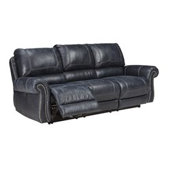 Ashley Milhaven Power Reclining Faux Leather Sofa in Navy