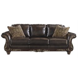 Ashley Vanceton Leather Sofa in Antique