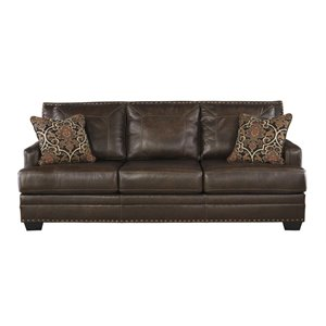 Ashley Corvan Leather Sofa in Antique