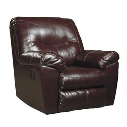 Ashley Kilzer DuraBlend Faux Leather Rocker Recliner in Mahogany