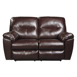 Ashley Kilzer DuraBlend Reclining Faux Leather Loveseat in Mahogany