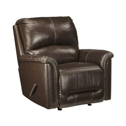 Ashley Lacotter Leather Rocker Recliner in Chocolate