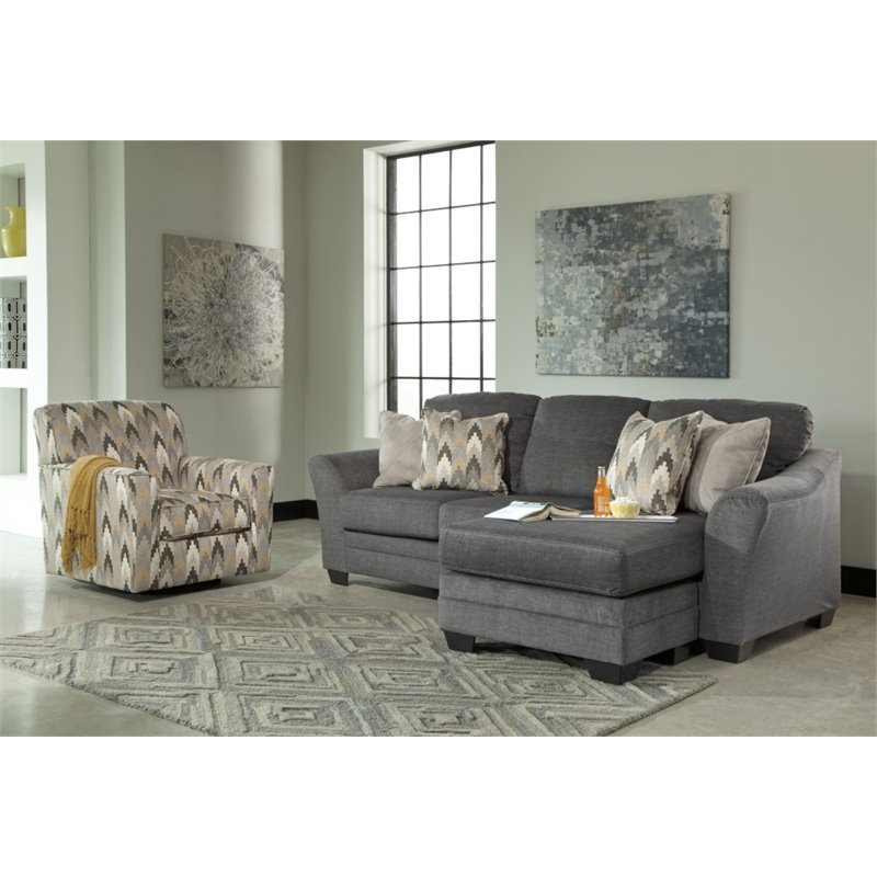Ashley braxlin sofa chaise in charcoal 8850218 for Ashley furniture chaise lounge couch
