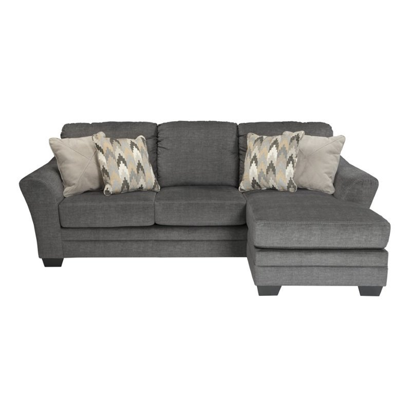 Ashley braxlin sofa chaise in charcoal 8850218 for Ashley chaise lounge sofa