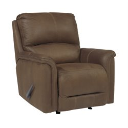 Ashley Ranika Faux Leather Rocker Recliner in Brown