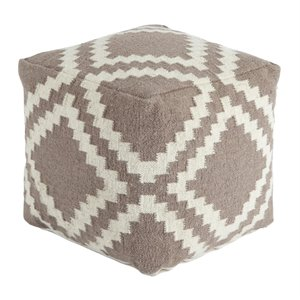 Ashley Geometric Cube Pouf in Gray