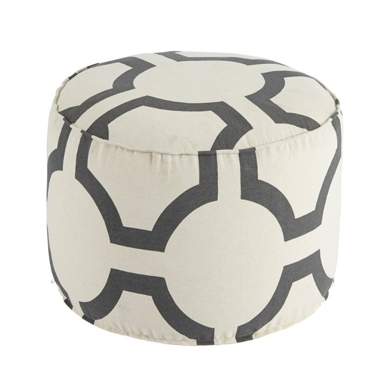 Ashley Furniture Geometric Cylinder Pouf in Charcoal