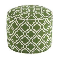 Ashley Geometric Cylinder Pouf in Green and White
