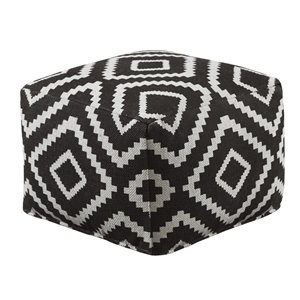 Ashley Geometric Cube Pouf in Black