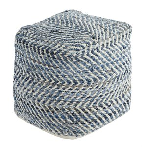 Ashley Chevron Cube Pouf in Blue
