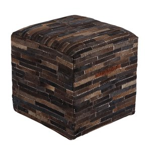 Ashley Cowhide Cube Pouf in Dark Brown