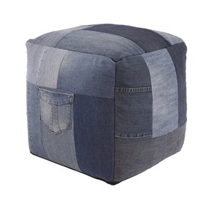 Ashley Aaden Cube Pouf in Blue