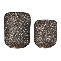 Ashley Odbart Assorted Candle Holder Set in Antique Bronze (Set of 2)
