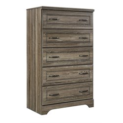 Ashley Javarin 5 Drawer Chest in Grayish Brown