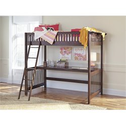 Ashley Strenton Loft Bed with Desk in Brown