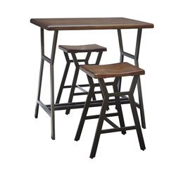 Ashley Danzing 3 Piece Counter Height Table Set in Dark Brown