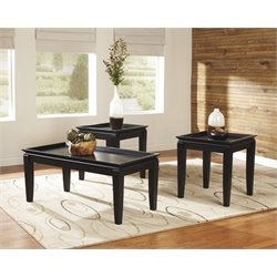 Ashley Delormy 3 Piece Coffee Table Set in Almost Black