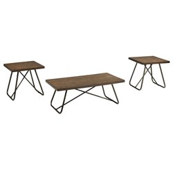 Ashley Endota 3 Piece Coffee Table Set in Medium Brown