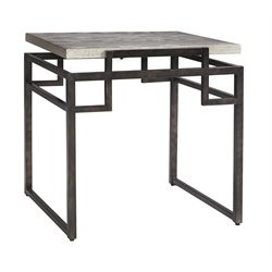 Ashley Isman Square End Table in Silver and Black