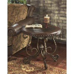 Ashley Rafferty Round End Table in Dark Brown