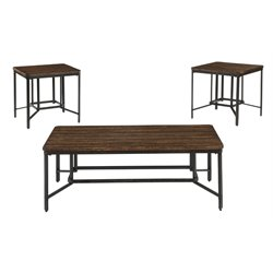 Ashley Newelk 3 Piece Coffee Table Set in Brown
