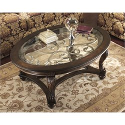 Ashley Norcastle Oval Coffee Table in Dark Brown