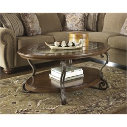 Ashley Nestor Oval Coffee Table in Medium Brown