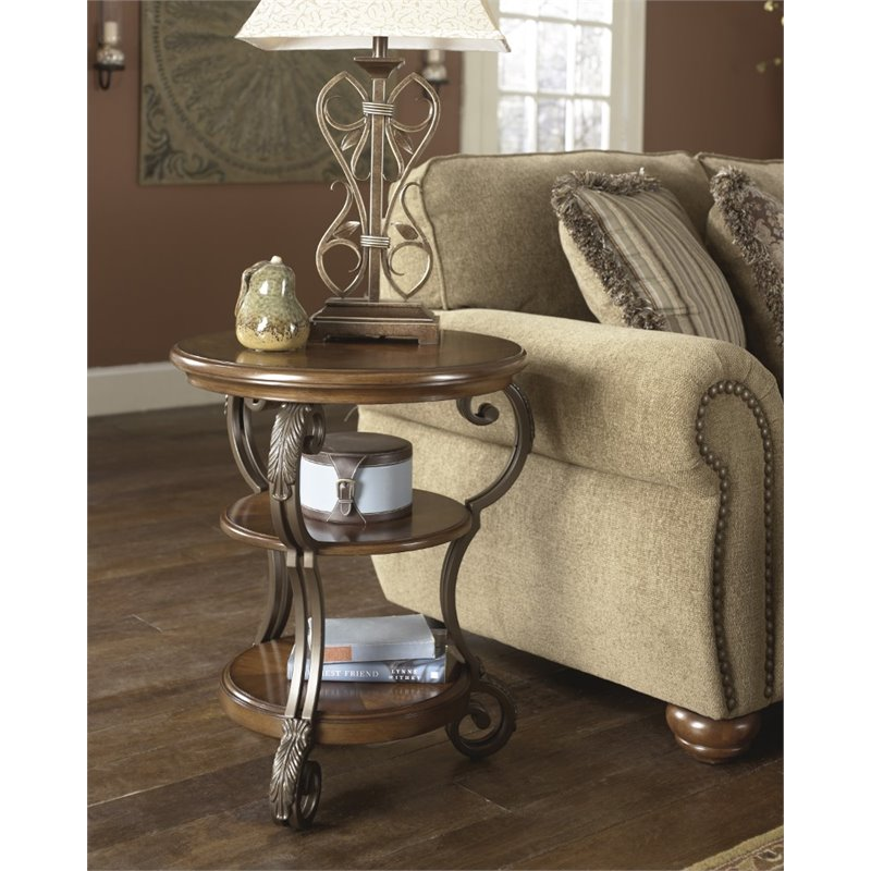 Peachy Ashley Nestor End Table In Medium Brown Download Free Architecture Designs Rallybritishbridgeorg